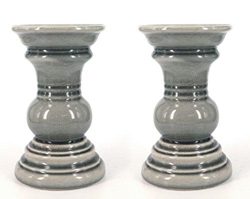 True Grit Fine Ceramic 2-Piece Set Round Base Natural Wash Finish Pillar Tall Decorative Candlestick Holder GRAY 5 x 5 x 825