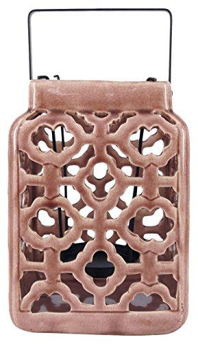 True Grit Fine Ceramic Mediterranean Style Pillar Decorative Candlestick Holder Chocolate