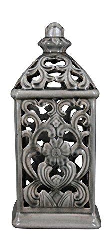 True Grit Fine Ceramic Mediterranean Style Pillar Decorative Candlestick Holder Grey
