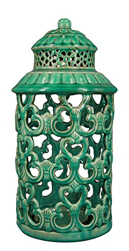 True Grit Fine Ceramic Mediterranean Style Pillar Decorative Candlestick Holder Sea Green