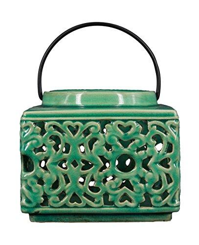 True Grit Fine Ceramic Shape Mediterranean Style Tea Light Decorative Candlestick Holder with Handle Square 5 L x 5 W x 4 H Green