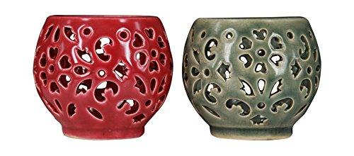 True Grit Fine Ceramic Tea Light Decorative Candlestick Holder Round Base