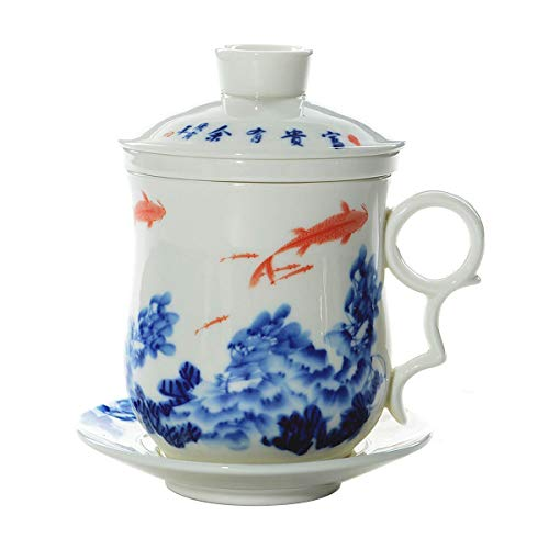 Hwagui - Chinese Blue And White Ceramic Teacups With Infuser Lid Saucer And Delicate Gift Box