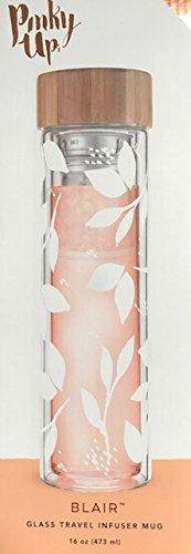 Blair White Leaf Pattern Glass Travel Infuser Mug