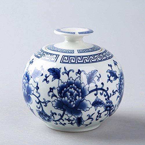Blue and white ceramic tea caddy tins tea leaf set tea canister teapot box sealed jar dried fruit cans