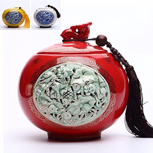 Chinese Ceramics tea caddy tins Tea set Tea service Canister Teapot box Fish
