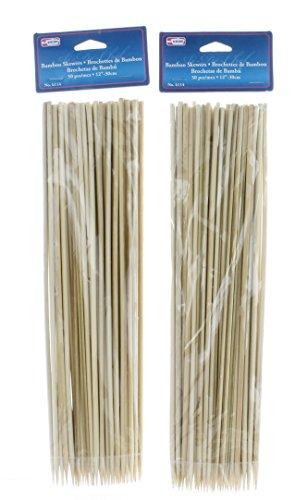 100 Bamboo Skewers 12 BBQ Wooden Sticks Barbecue Grill Shish Kabob Roasting
