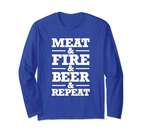 Unisex Barbecue Grill BBQ Long Sleeve T Shirt Meat Fire Beer Repeat XL Royal Blue