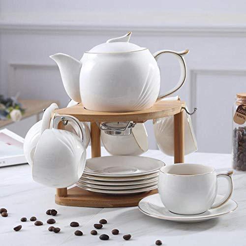 6-piece ceramic Continental espresso cup set tea set home white coffee pot with bamboo rack 180ml