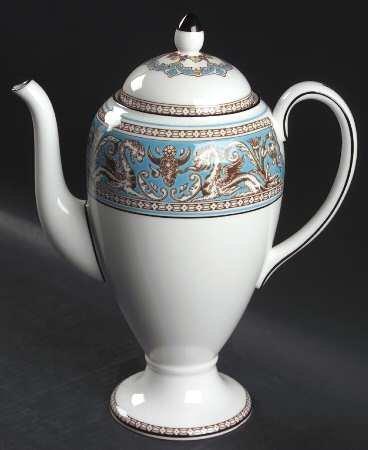 Wedgwood Florentine-Turquoise-Fruit CenterWhite Coffee Pot Lid Fine China Dinnerware