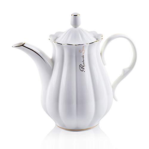 ufengke 51oz White Ceramic Coffee PotRuffled with Golden Side Porcelain TeapotLarge Capacity Pumpkin Fluted Shape Coffee Pot