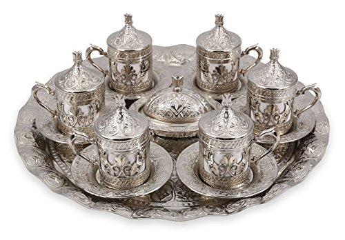 Traditional Design Brass Cast Turkish Armenian Arabic Greek Coffee Set Coffee Cup Espresso Set Tea Set for Two-CS6-204