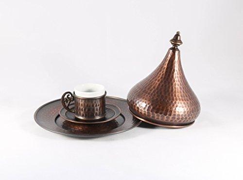 Traditional Design Handmade Copper Turkish Greek Arabic Armenian Coffee Espresso Set for One