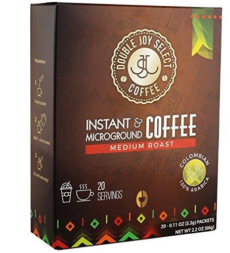 Double Joy Select Premium Instant Coffee Packets - Tastes Freshly Brewed - 20 Medium Roast Colombian Coffee Singles