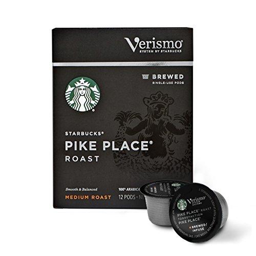 Starbucks Verismo Pike Place Roast Brewed Coffee Single Serve Verismo Pods Medium Roast 6 boxes of 12 72 total Verismo pods