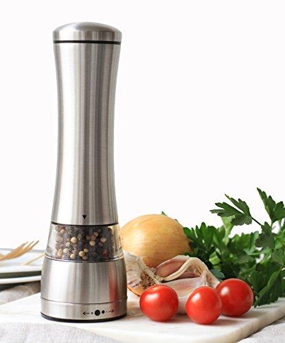 Sage Kitchenware Stainless Steel Black Pepper Grinder Or Salt Mill Strong Ceramic Grinder Mechanism 8.5 Inches