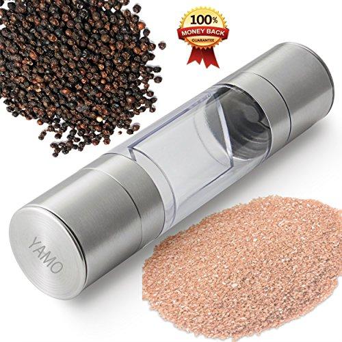 Salt & Pepper Mill Set 2 In 1 - Salt And Pepper Grinder Set With Adjustable Ceramic Grinding Mechanism - Premium