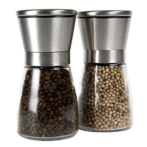 Stainless Steel Salt And Pepper Grinder Set /brushed Stainless Steel Pepper Mill And Salt Mill, Glass Body, Adjustable