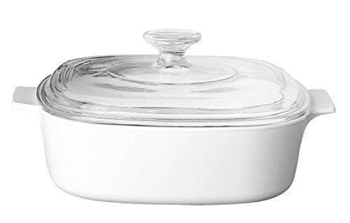 CorningWare Square Casserole 2 Liter - Cooking Preparing Dish Large Baking Dish with Glass Lid
