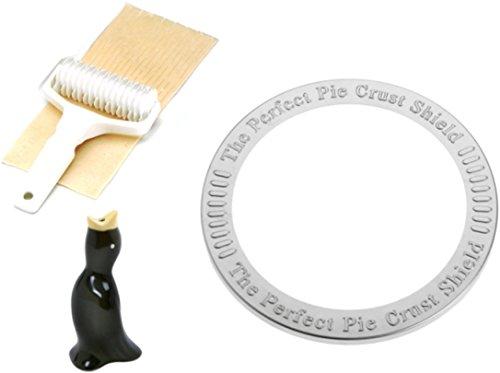 Norpro Pie Baking Bundle: Crust Shield, Lattice Cutter, Pie Bird