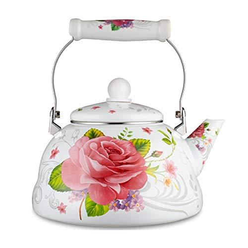 Tea Kettle 21Quart Retro Classic Design Teapot Enamel on Steel Teapot Floral Home Porcelain Enameled Teakettle Colorful Hot Water Tea Kettle Pot for Stovetop Teakettles Color  F