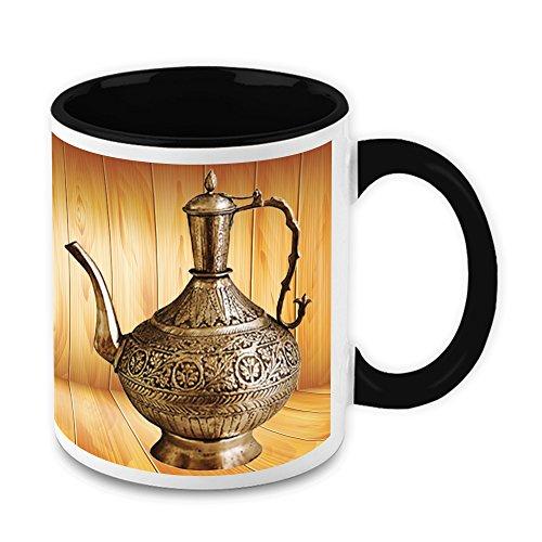 HomeSoGood Antique Metal Kettle White Ceramic Coffee Mug - 11 Oz