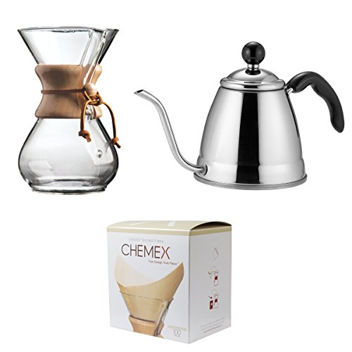 Save set Chemex Classic Wood Collar and Tie Glass 6-Cup Coffee Maker with 100 Count Bonded Circle Coffee Filters Fino Pour Over Coffee Kettle 188 Stainless Steel 6-Cup 12L Capacity