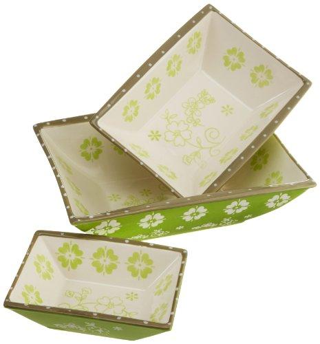 DII Leaf Green Vintage Flower Ceramic Serving Dishes Set of 3