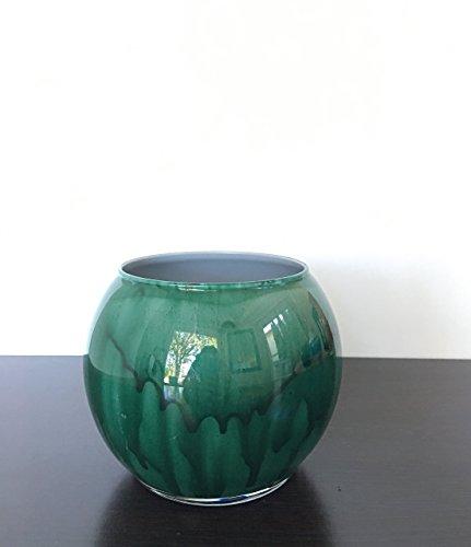 Dark Green Small Glass Bowl Hand Painted Vase Waterproof