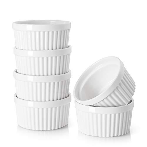 DOWAN 4 Oz Porcelain Ramekins Serving Bowls for Souffle Creme Brulee Classic Style Ramekins for Baking Set of 6 White