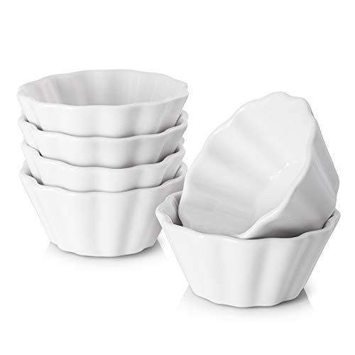 DOWAN 6 Oz Porcelain Ramekins Serving Bowls for Souffle Creme Brulee Flower Shape Ramekins for Baking Set of 6 White