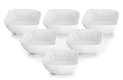 DOWAN 8 Ounces Porcelain Ramekins Dessert Bowls Set of 6 White Stylish Square