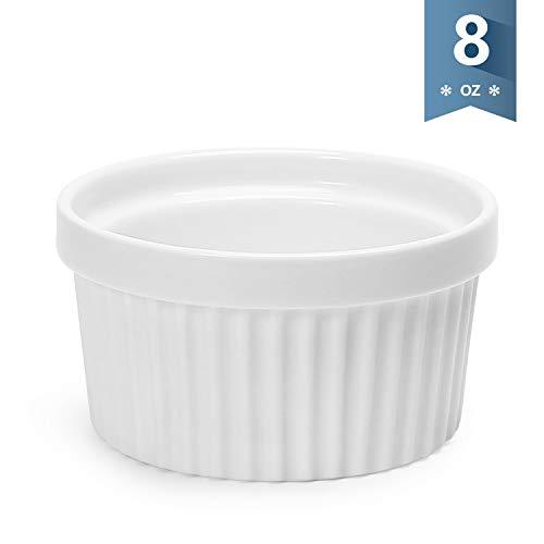 Sweese 501000 Porcelain Ramekins for Baking - 8 Ounce Souffle Dish - Single White