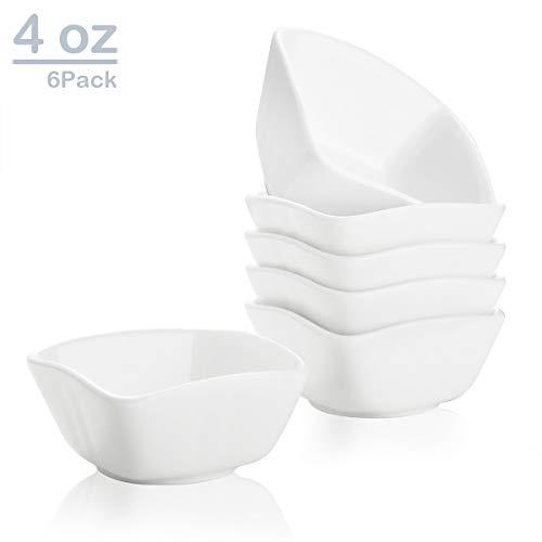 Zoneyila 4 oz Porcelain Ramekins Bakeware SetServing Bowls for DessertSouffleCreme BruleeDipping Sauces6 PackWhite