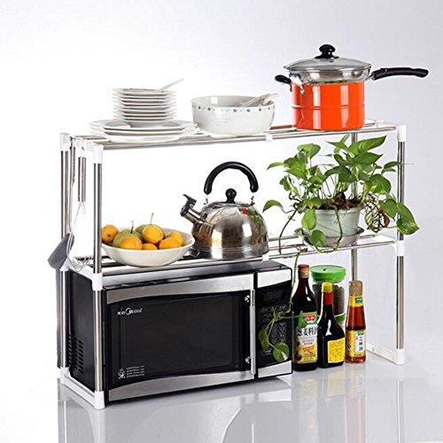 XHSP 2-Tier Adjustable Stainless Steel Microwave Oven Rack Detachable Kitchen Tableware Shelves Home Storage Rack