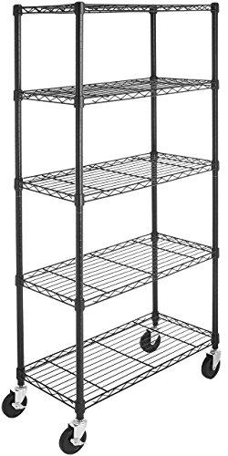 AmazonBasics 5-Shelf Shelving Storage Unit on 4 Wheel Casters Metal Organizer Wire Rack Black 30L x 14W x 6475H