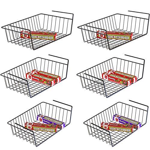 Under Shelf Basket iSPECLE 6 Pack Black Wire Rack Slides Under Shelves For Storage Easy to Install