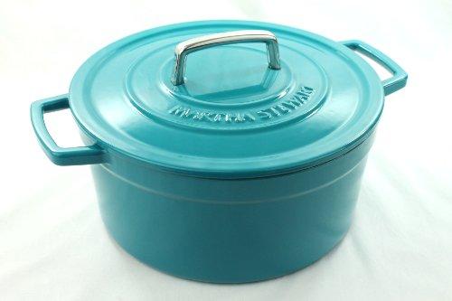 Martha Stewart Teal Blue Enameled Cast Iron 6 Qt. Round Dutch Oven Casserole