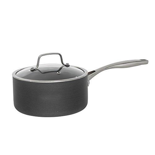 Bialetti Ceramic Pro Hard Anodized Nonstick Sauce Pan 2 quart Gray