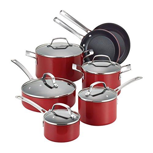Circulon 14501 Genesis Nonstick Cookware Pots and Pans Set 12 Piece Red