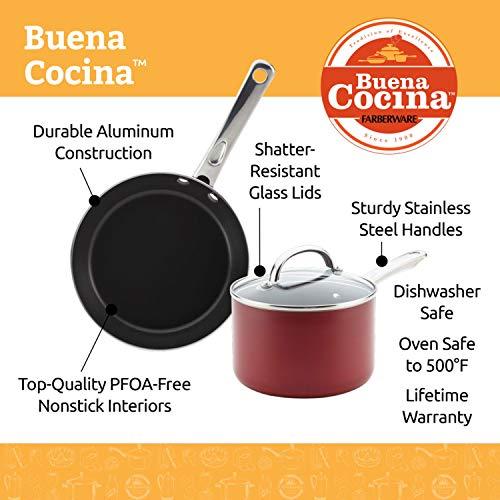 Farberware 22012 Buena Cocina Nonstick Cookware Pots and Pans Set 13 Piece Red