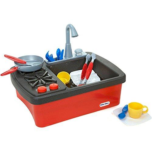 Little Tikes Splish Splash Sink Stove with Bonus 10 pc Complete Red Cookware Set