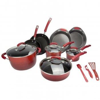 Rachael Ray Porcelain II 15 Piece Red Cookware Set