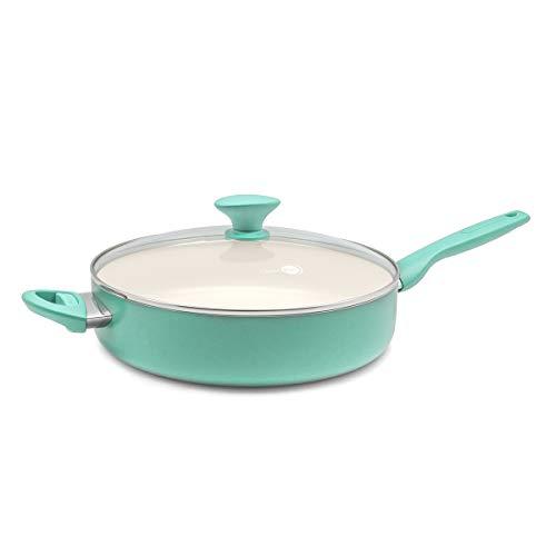 GreenPan CC001328-001 Rio Jumbo Ceramic Saute Pan 5QT Turquoise