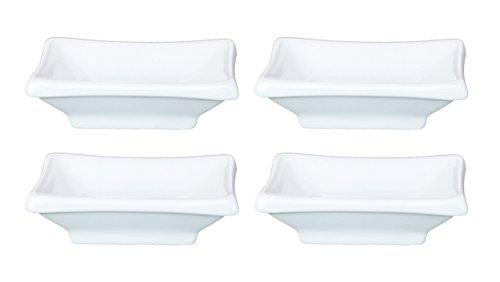 Happy Sales HSPS-SQW03 Sauce Dish White Ceramic rectangular 4 pc White