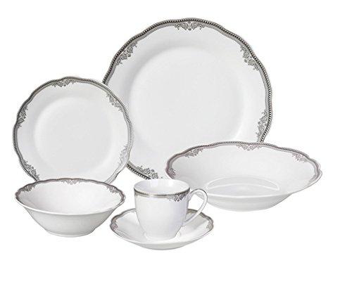 24-Piece SilverWhite Porcelain Dishwasher Safe Dinnerware Set Service For 4