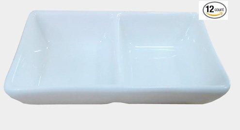 Super White 2 Compartment Porcelain Divided Dish 12 Count 2 COMP 4L X 25W X 075H