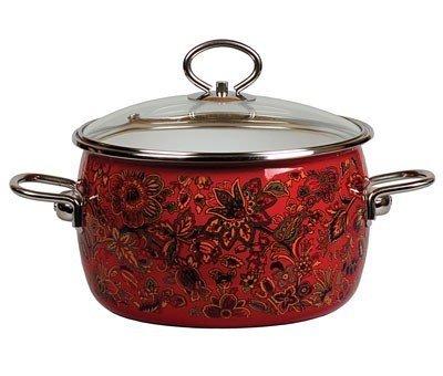 Khokhloma Vitross Imperio Enamelware Cooking Pot Set - Stock Pot Set with Lid - Enameled Steel 21-qt 2 L