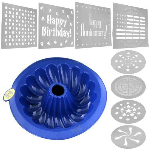 BSS - SmartwareT Silicone Bundt Pan - Blue  Set of Stencils