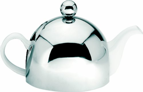 G&H Tea Services Soho 30 2-Cup Ceramic Teapot with Insulated Chrome White